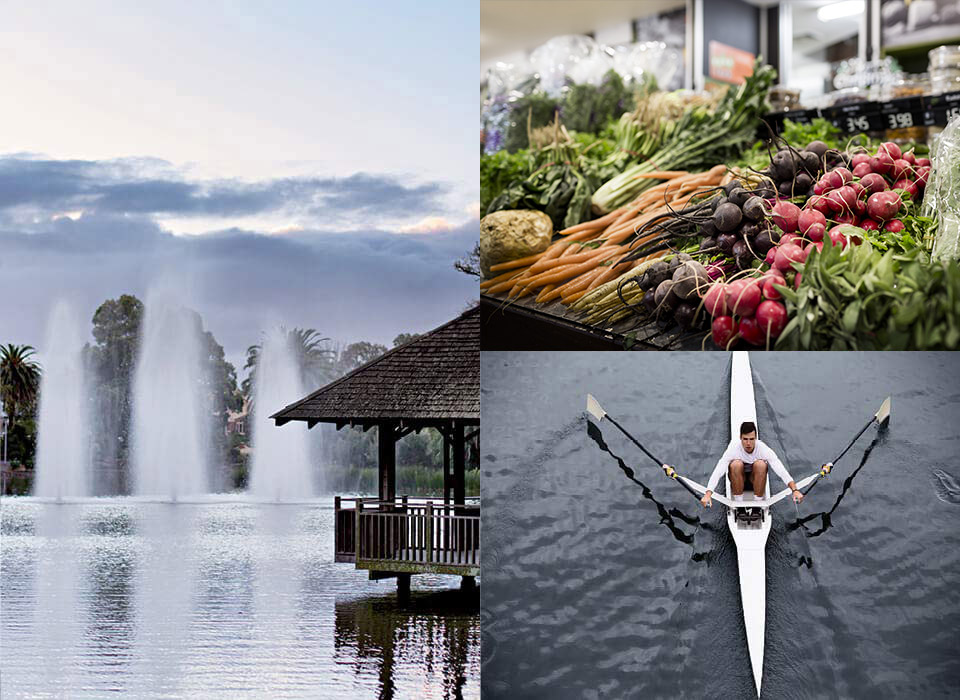 Moonee Ponds lifestyle collage featuring Maribyrnong River, dining, rowing